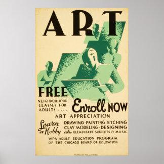 Poster 1936 de WPA do vintage de Libres do dardo