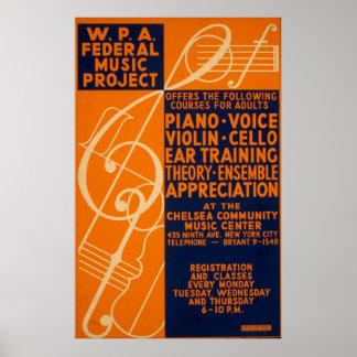 Poster 1939 de WPA do vintage das classes do