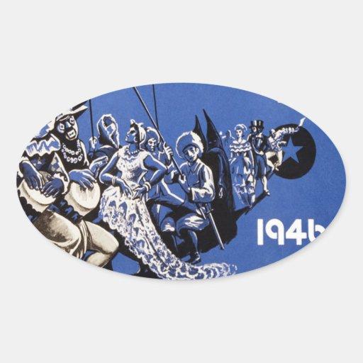 Poster 1946 de Carnaval Habana do vintage do Adesivos Ovais