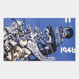 Poster 1946 de Carnaval Habana do vintage do vinta Adesivos Em Formato Retangulares