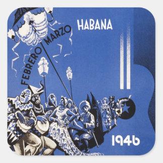 Poster 1946 de Habana Carnaval do vintage Adesivo Em Forma Quadrada