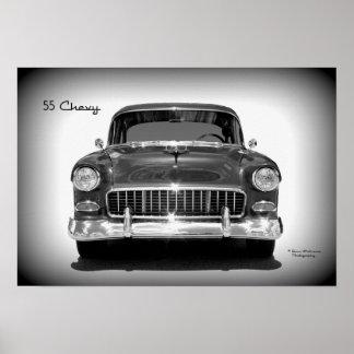 Pôster 1955 opinião dianteira de Chevrolet - Monochrome