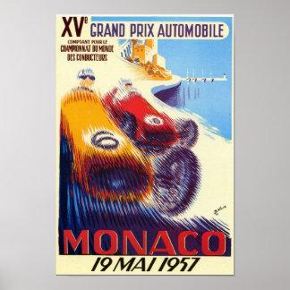 Poster 1957 grande de Monaco Prix