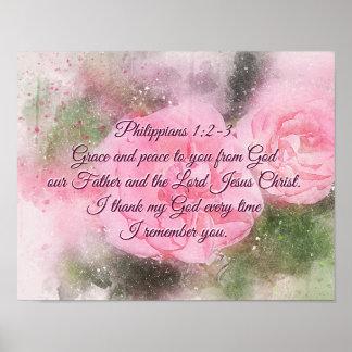 Pôster 1:2 dos Philippians - 3 enfeitam e a paz a você