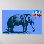 Poster 2012 republicano do elefante do GOP do vint