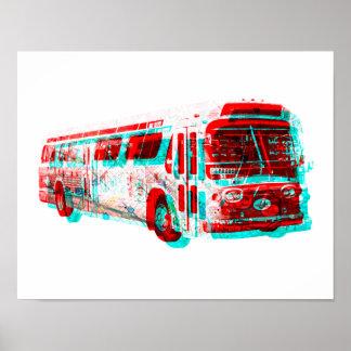 Pôster 2D Velha escola do ônibus do trânsito da C.A.