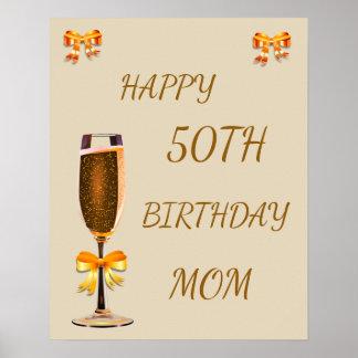 Poster 50th mamã feliz do aniversário