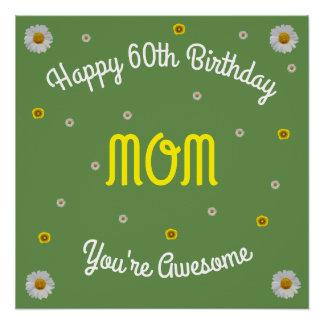 Pôster 60th mamã feliz do aniversário