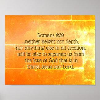 Poster 8:39 dos romanos o amor do deus no cristo Jesus,