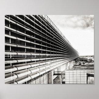 Poster A4 preto e branco da construção industrial