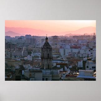 Pôster A Andaluzia. Por do sol sobre Málaga.