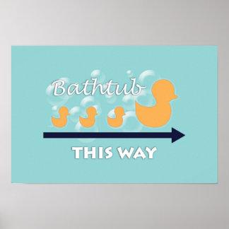 """Pôster A arte da parede do banheiro """"Ducks em seguido"""" o"""