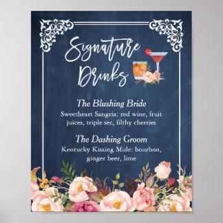 Poster A assinatura bebe o casamento floral dos azuis