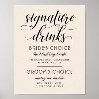 Pôster A assinatura do casamento bebe o branco morno do