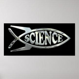 Poster A astronáutica evolui peixes no cromo de prata