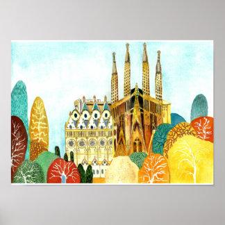 Pôster A Barcelona de Gaudi
