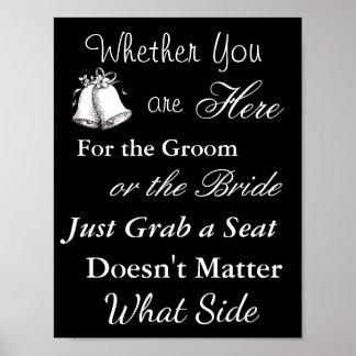 """Poster A carta do assento do casamento, senta """"onde"""" o"""