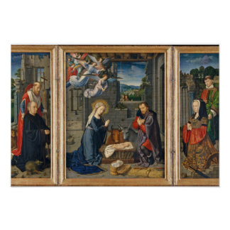 Poster A cena da natividade com doadores e santos