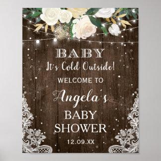 Poster A corda floral rústica ilumina o bebê sua parte