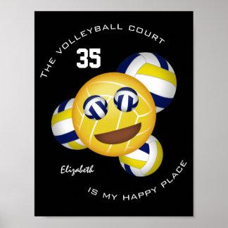 Poster A corte de voleibol é meu emoji feliz do vball do