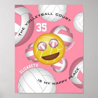 Pôster A corte de voleibol é meu emoji feliz do vball do