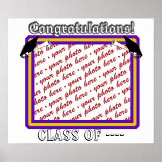 Pôster A escola colore o roxo & o quadro da graduação do