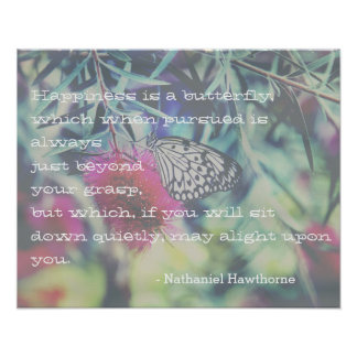Poster A felicidade é uma borboleta - citações de