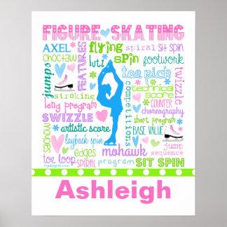 Pôster A figura patinador Pastel personalizada exprime a