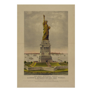 Pôster A grande estátua de Bartholdi por Ives 1885