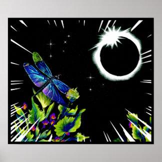 Pôster A libélula observa o eclipse solar total 2017