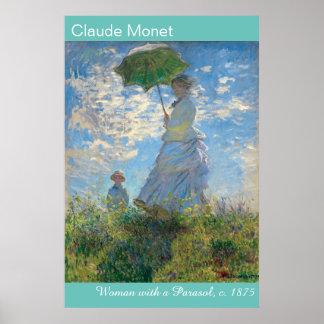 Poster A mulher vibrante de Monet com um parasol o Stroll