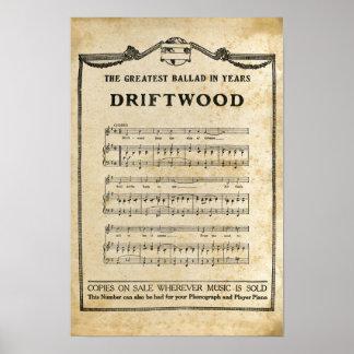 Poster A música da madeira lançada costa nota o