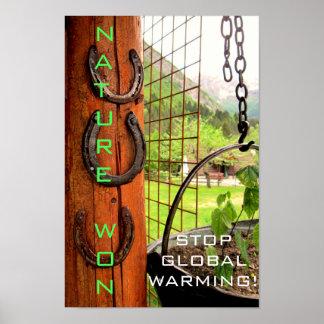 Poster A natureza ganhada, para o aquecimento global