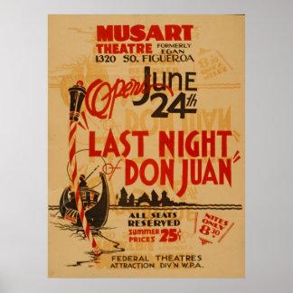 Pôster A noite passada teatro de Musart do vintage de Don