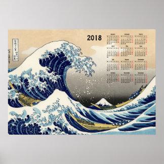 Pôster A onda grande fora do calendário de Kanagawa 2018