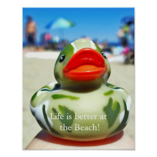 Pôster A Pato-Vida de Camo é melhor na praia
