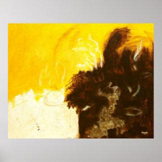 Pôster A pintura da arte abstracta goteja Splatters Brown