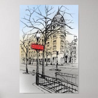 Poster A rua da mão de Paris tirada coloriu o esboço da