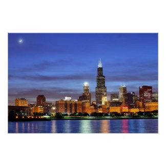 Pôster A skyline de Chicago do planetário de Adler