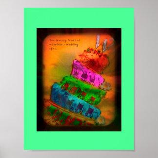 """Pôster """"A torre inclinada do bolo de casamento da cadeira"""