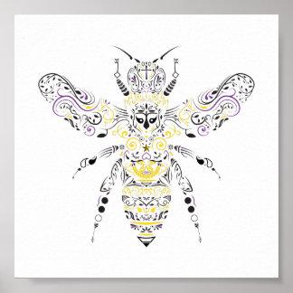 Pôster abelha ornamentado do mel