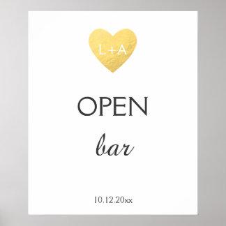 Poster Abra o sinal do casamento do bar, coração do ouro
