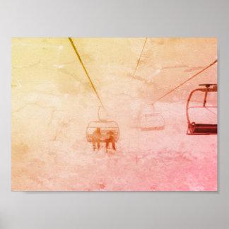 Poster abstrato colorido do Snowboard do esqui