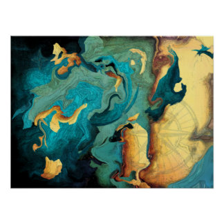Poster abstrato de Aquarmarine do arquipélago Pôster