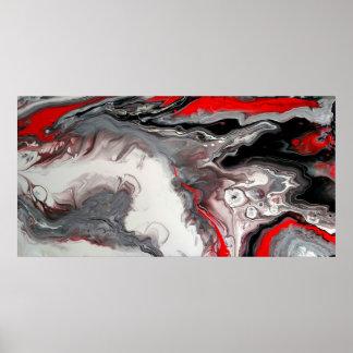 Pôster Abstrato do contemporâneo - preto, prata e