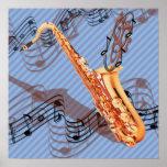 Poster abstrato do saxofone