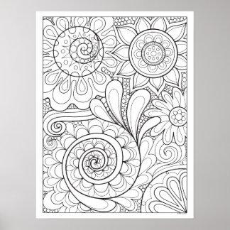Poster abstrato floral da coloração da arte do