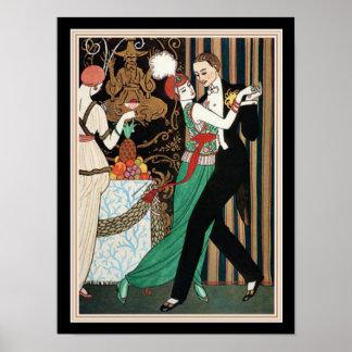 """Pôster """"Acople art deco de George Barbier da dança"""" 12"""