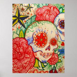 Poster adoce o dia da flor do crânio da arte inoperante