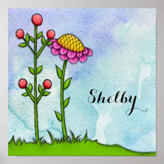 Poster adorável da flor do Doodle da aguarela
